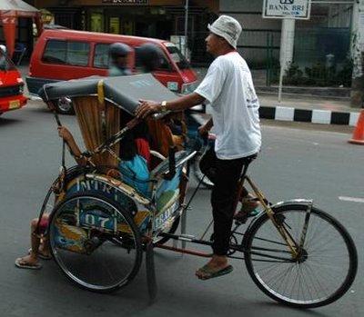 Becak Tenaga Pak Surya (Ilustrasi)