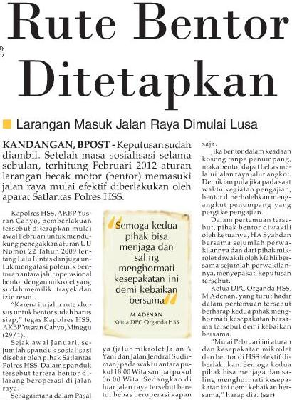 Banjarmasin Post, Senin 30 Januari 2012